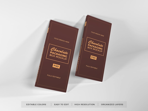 Realistic chocolate box packaging mockup