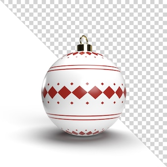 Realistic christmas ball render with gold pattern isolated