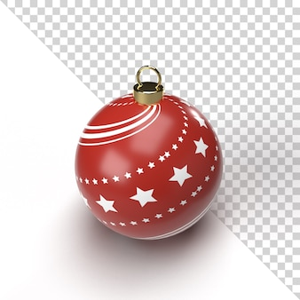 Realistic christmas ball render with gold and red pattern isolated