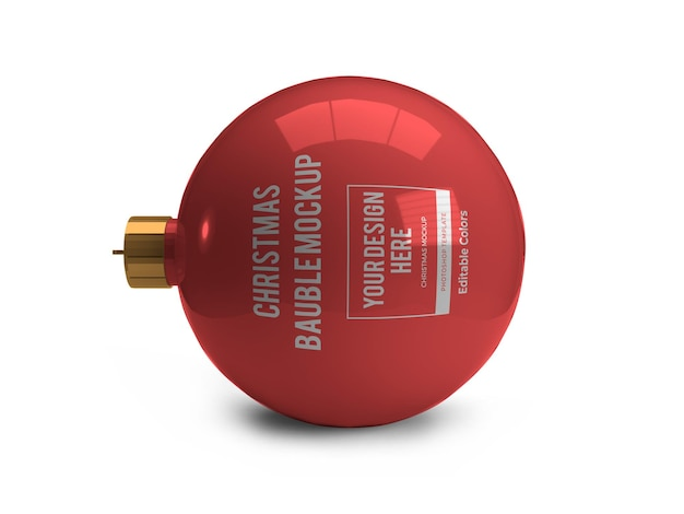 Realistic christmas bauble ball mockup template isolated