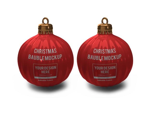 分離された現実的なクリスマス安物の宝石ボールモックアップテンプレート