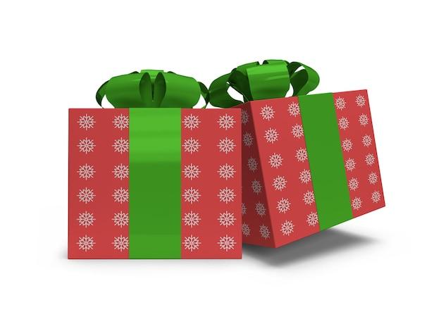 Realistic christmas gift box mockup template isolated