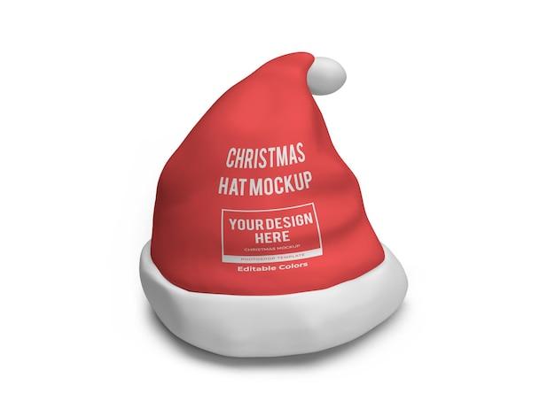 分離された現実的なクリスマス帽子のモックアップテンプレート