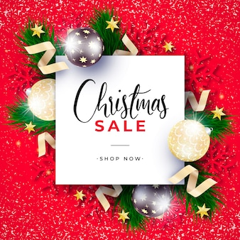 Realistic christmas sale banner with red background
