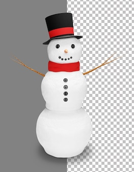 Realistic christmas snowman with hat and scarf