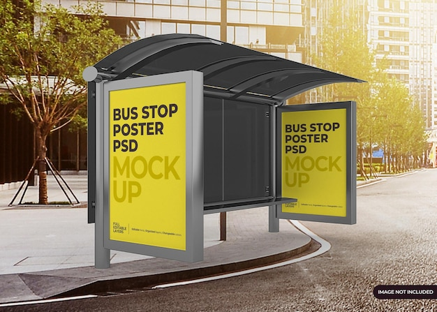 Realistic city bus stop billboard mockup