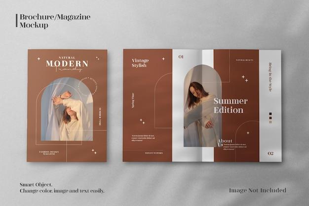 リアルでクリーンでミニマリストな雑誌やパンフレットのカタログのモックアップ