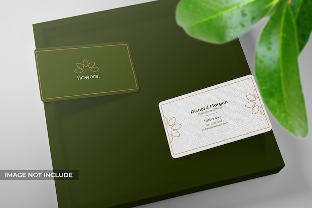Realistic and clean business card mockup with leaves