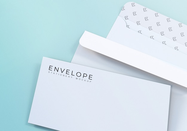 Realistic clean monarch envelope mockup