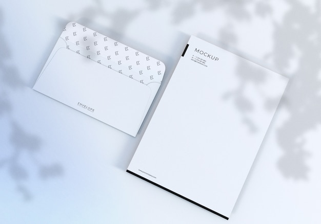 Realistic clean white monarch envelope and letterhead mockup
