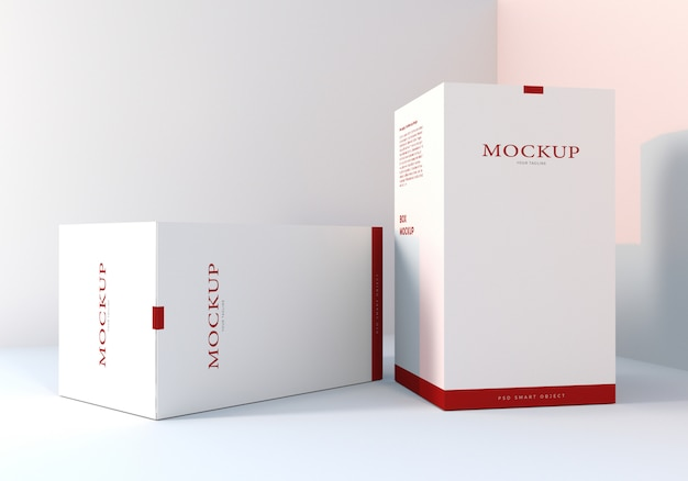 Realistic clean white packaging box mockups design