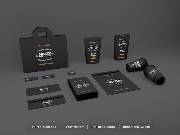 Реалистичный фирменный стиль кофе и макет канцелярских товаров