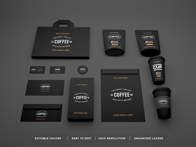 Realistic coffee brand identity and stationery mockup