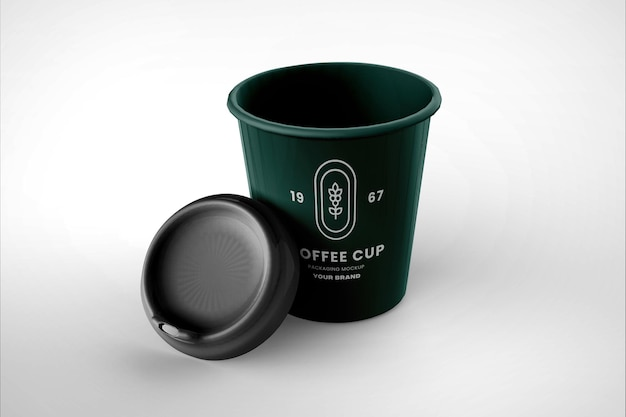 Realistic coffee cup mockup design isolated