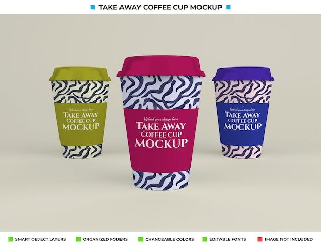 テイクアウトのコンセプトでリアルなコーヒーカップのモックアップ