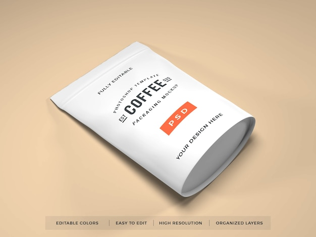 Realistic coffee packaging mockup