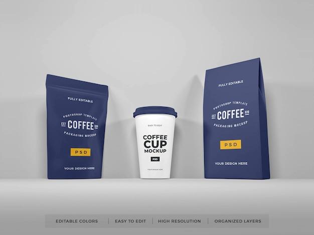 現実的なコーヒー包装セットモックアップ