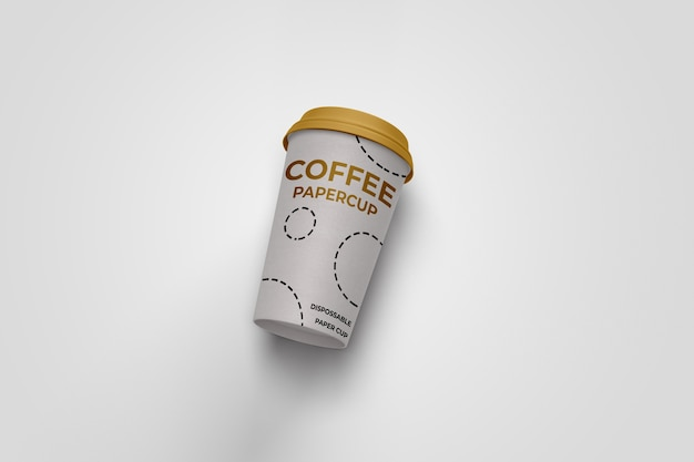 Realistic coffee paper cup disposable mockup