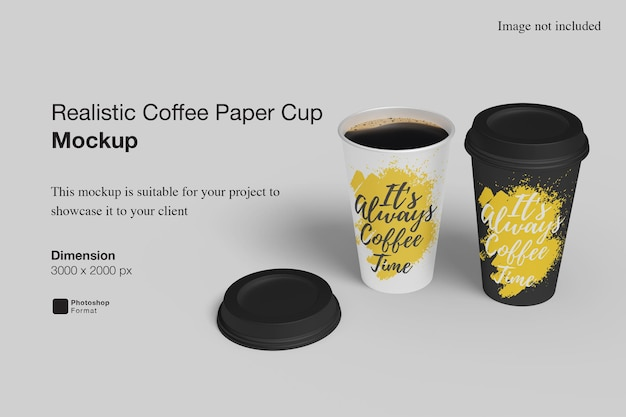 Realistic coffee paper cup mockup