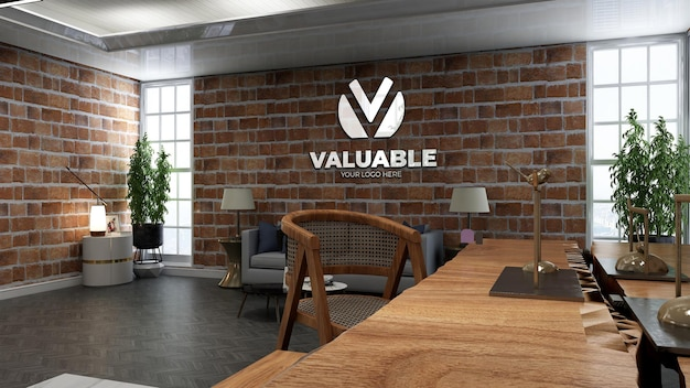 Realistic coffee shop logo mockup in cafe or restaurant with brick wall