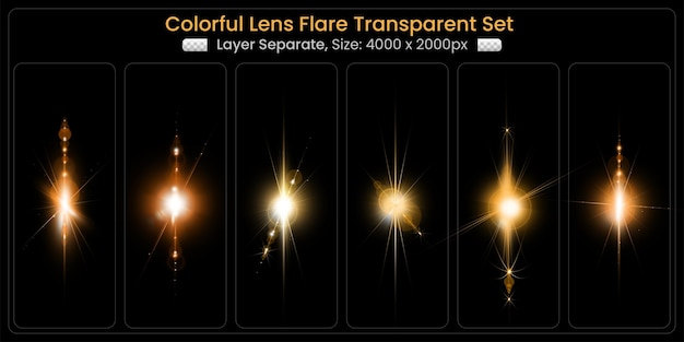 Realistic colorful lens flare with abstract lens lights collection