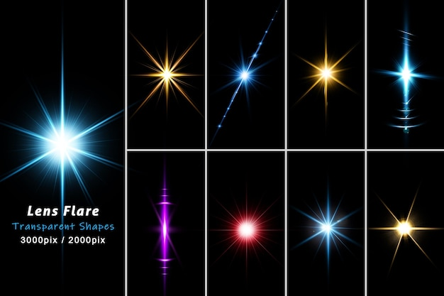 Реалистичные красочные линзы бликов света в 3d-рендеринге изолированы