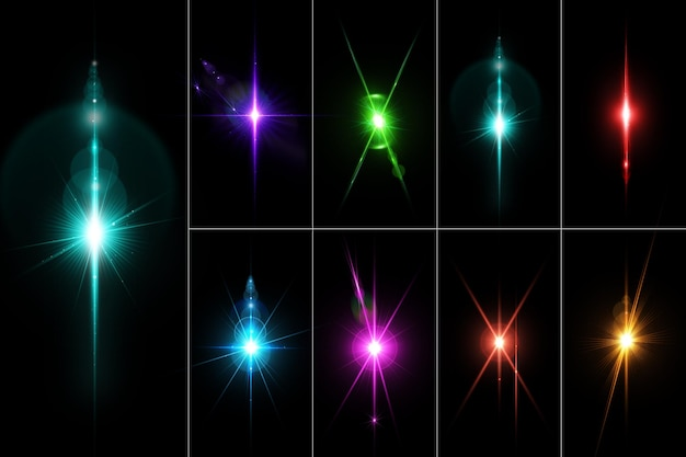 Realistic colorful lens flares and light set isolate Premium Psd