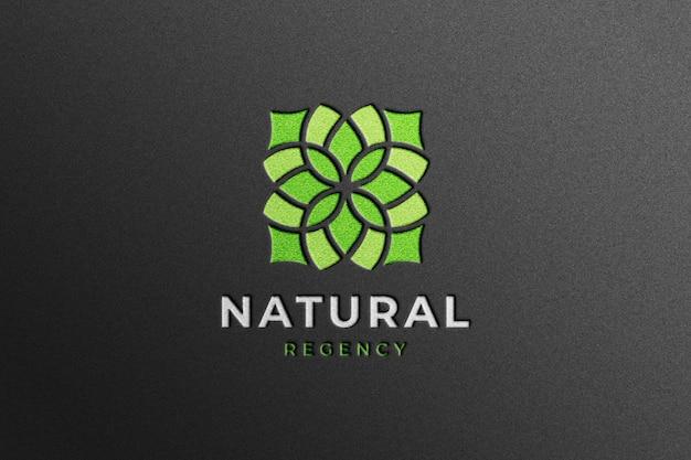 Realistic company logo mockup on black craft paper