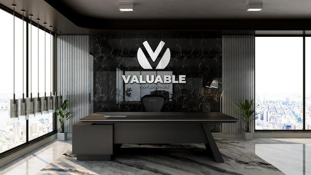 고급 사무실 접수원 또는 프런트 데스크 룸에서 현실적인 회사 로고 모형