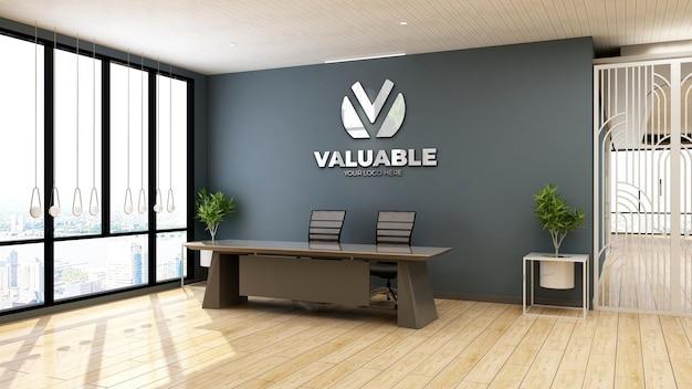 사무실 프론트 데스크 또는 접수실에서 현실적인 회사 로고 모형