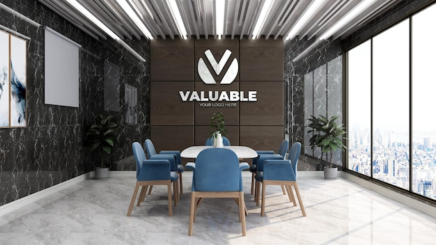Realistic company logo mockup in the luxury office meeting space
