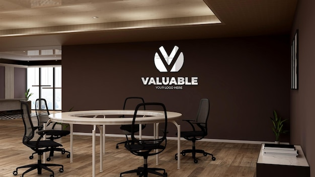 Realistic company logo mockup in the office circle desk meeting space