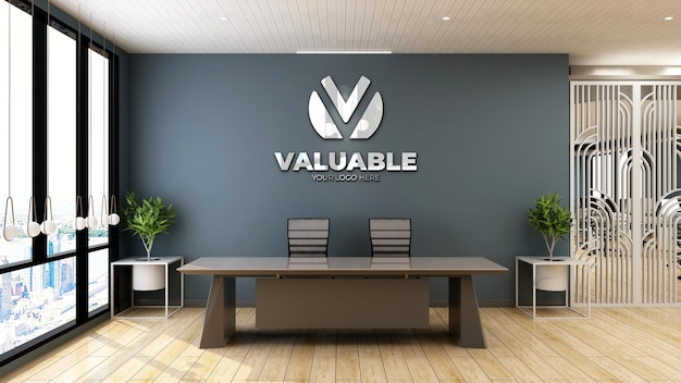 Realistic company logo mockup in office front desk or receptionist room