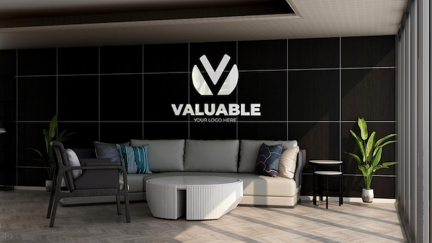 Realistic company logo mockup in the office lobby waiting room for relax
