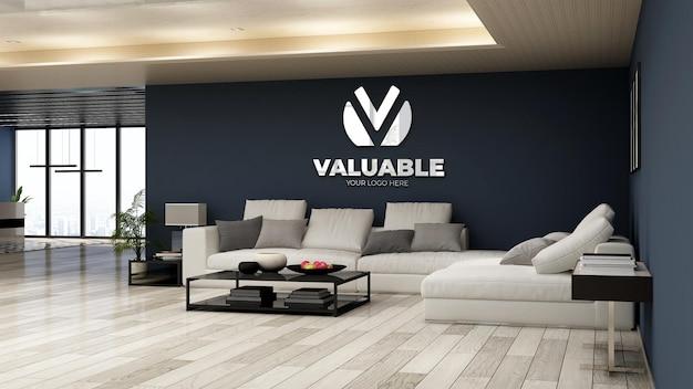 Realistic company logo mockup in office lobby waiting room