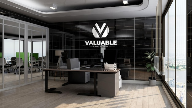 Realistic company logo mockup in office manager room with luxury black wall design interior