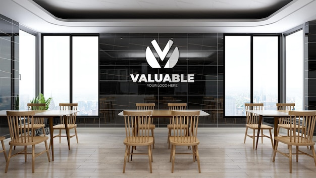 Realistic company logo mockup in the office pantry area