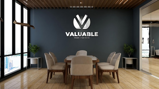Realistic company logo mockup in wooden minimalist office meeting room for a branding logo