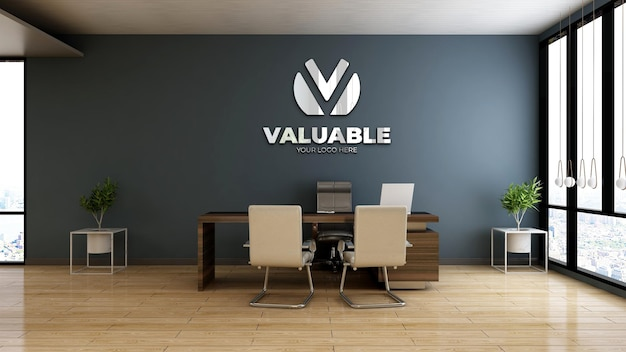 Realistic company logo mockup in wooden office manager room
