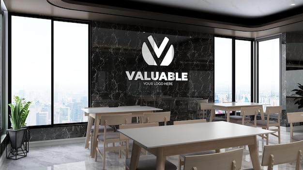 고급 사무실 휴식 시간 또는 주방 공간에서 현실적인 회사 벽 로고 모형