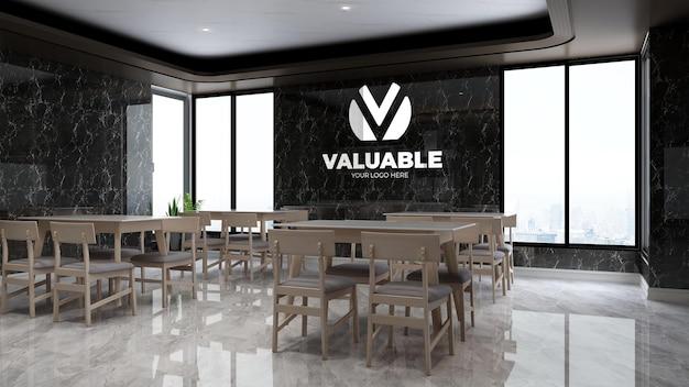 Realistic company wall logo mockup in the luxury office break or kitchen room