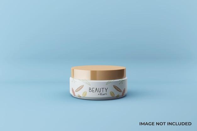 Реалистичный дизайн макета косметической банки с кремом для лица