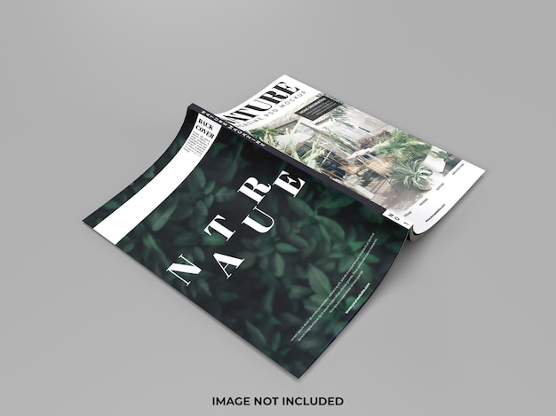 Realistic cover mockup of magazine isolated
