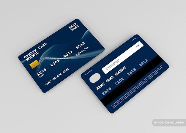 Realistic credit card mockup design isolated