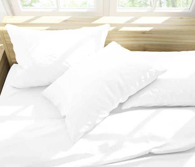 Реалистичные подушки на двуспальной кровати