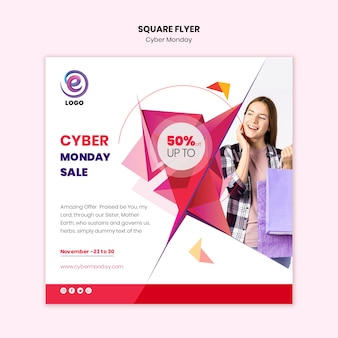 Realistic cyber monday square flyer