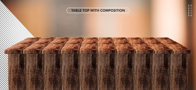 Realistic dark wood table top for makeup