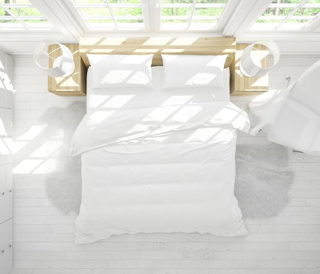 Реалистичная спальня с двуспальной кроватью с мебелью и большими окнами на вид сверху