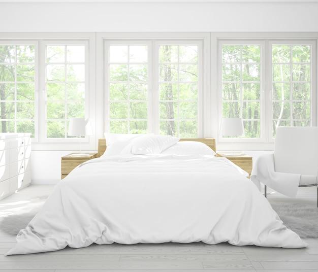 Реалистичная спальня с двуспальной кроватью с мебелью и большими окнами Бесплатные Psd