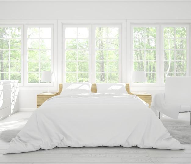 Реалистичная спальня с двуспальной кроватью с мебелью и большими окнами
